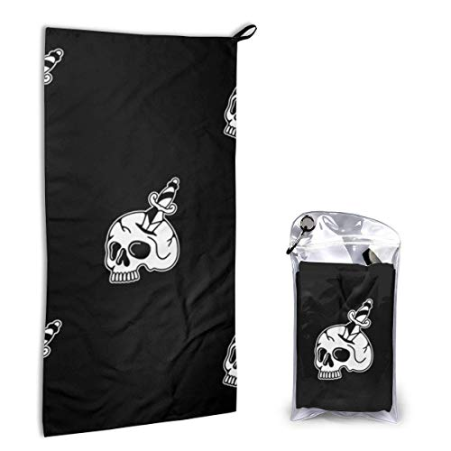 DJNGN Skull Dagger Black Objects Anatomy People Toalla de Playa de Microfibra de Secado rápido Toallas de Playa Ligeras y súper absorbentes para Gilrs Niños Adolescentes Adultos 15.7 'X 31.5' 40x80cm