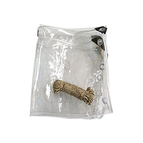Petrhot Lona Impermeable Transparente, Plegable, Material De PVC con Ojales Lona De PláStico De PVC para Casa JardíN Externo, 0.55 Mm De Espesor(Ancho 2 M) La Longitud Se Puede Personalizar