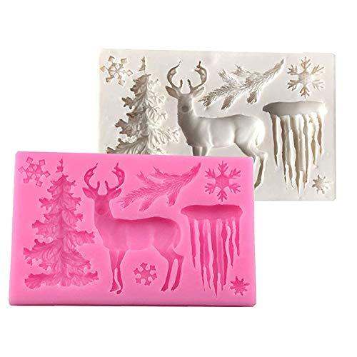 HPiano 2pcs Silicone Moule de 3D Forme de Père Noël Cuisson Cake Pan Muffin Coupes Main Savon Moules Gâteau Biscuit Chocolat Ice Cube Tray Mold DIY Gateau décoration