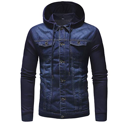 MODOQO Men's Long Sleeve Hoodies Vintage Denim Button Down Jacket Coat Outwear (Blue,L)