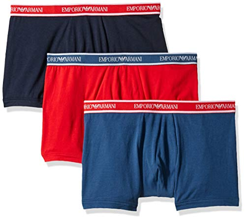 Emporio Armani Moda Multipack Stretch Cotone 3-Pack Boxer Breve, Cobalto/Rosso/Marino L Cobalto/Rosso/Marino