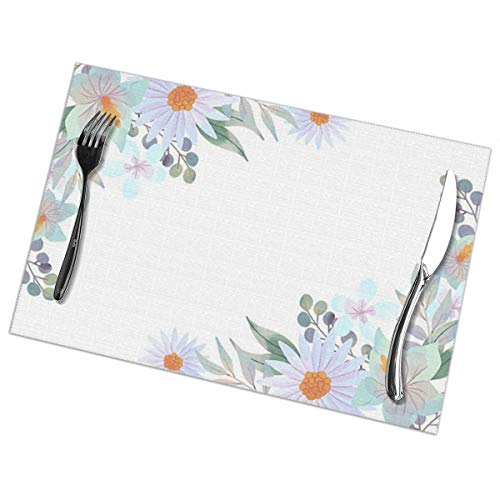 N/A Behang Met Pastel Aquarel Bloem Placemat Wasbaar Voor Keuken Diner Tafelmat, Gemakkelijk te reinigen Makkelijk Te Vouwen Plaats Mat 12x18 Inch Set Van 6