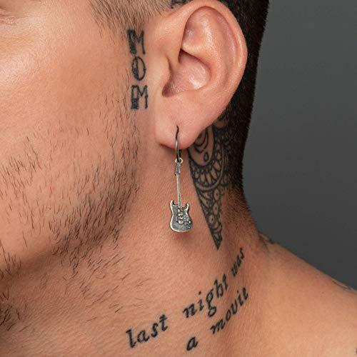925 Sterling Silber Ohrring für Männer Hoop Ohrring mit Charme Männer Ohrring Huggie Hoop Ohrring Männer Schmuck Geschenk für Männer Geschenk Gitarre Musik kleinen Reifen