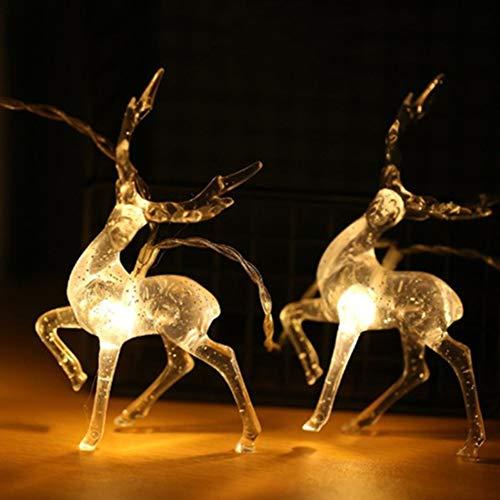 Guirnalda De Luces De Navidad Con Diseño De Reno De 1,5 M/3 M, Funciona Con Pilas, Color Blanco Cálido, Cadena De Luces Para Interiores Y Exteriores, Decoración De Navidad Para Navidad, Boda, Fiesta