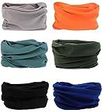 6 Stück Nahtlose Bandanas Multifunktionstuch Schal - Elastiche Multifunktion Stirnband Gaiter Balaclava Gesichtsmaske Kopfbedeckung UV Residenz für Yoga Laufen Wandern Radfahren Motorradfahren