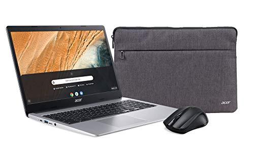 Acer Chromebook 315 (15,6 Zoll Full-HD IPS Touchscreen matt, 20mm flach, extrem lange Akkulaufzeit, schnelles WLAN, MicroSD Slot, Google Chrome OS) Silber (+ Acer Wireless Maus & Acer Notebook Tasche)