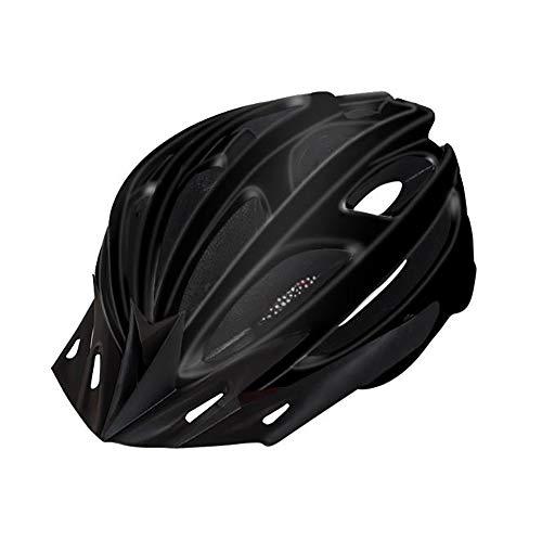 SHR-GCHAO Piloto Trasero Advertencia Casco De Equitación, Camino De Bicicletas De Montaña Integrado Casco De La Bicicleta, Hombres Y Mujeres De Carretera Ocasion Bicicletas (Un Tamaño),Negro