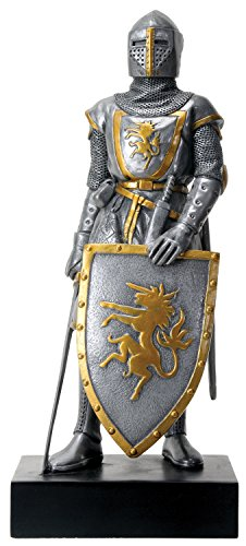 Silver Colored French Knight Design Standing Statue in Full Armor