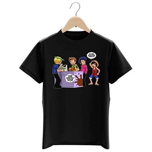 T-Shirt Enfant Garçon Noir Parodie One Piece - Sanji et Luffy - ça se Passe comme ça chez Les dragueurs. : (T-Shirt Enfant de qualité Premium de Taille 13-14 Ans - imprimé en France)
