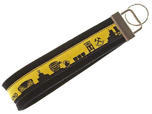 Dortmund Schlüsselband aus Filz | Skyline Dortmund in schwarz-gelb | Geschenk für Damen und Herren | Filz 100% Wolle (Merinowolle)