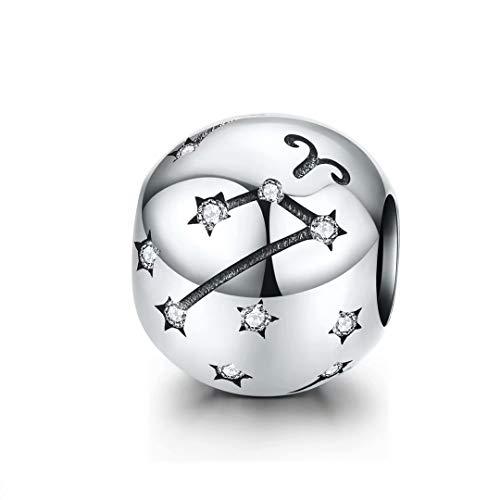 Qings Abalorio de Plata de Ley con Diseño de Signo del Zodiaco de 12 Constelaciones de Circonitas Cúbicas Compatible con Pulseras y Collares Aries(3.21-4.19)