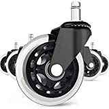 Universal Office Chair Caster Wheels Set of 5 Heavy Duty & Safe for All Floors Including Hardwood 3' Rubber Replacement for Desk Floor Mats