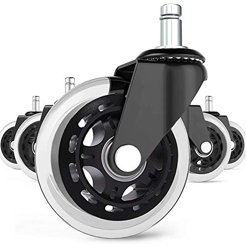 """Universal Office Chair Caster Wheels Set of 5 Heavy Duty & Safe for All Floors Including Hardwood 3"""" Rubber Replacement for Desk Floor Mats"""