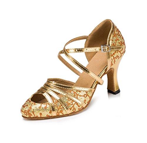 Meijili HW2943, Damen Standard & Latein, Gold - Gold Heel 7cm - Größe: 37