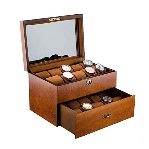 BWCGA Caso de joyería Caja de Almacenamiento Organizador Caja de Reloj de los Hombres de visualización, la Tapa de Cristal Grande Holder, Brown