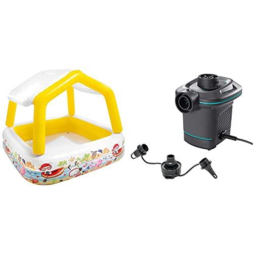 Intex 57470Np - Piscina Hinchable Infantil con Toldo Extraíble - 157X157X122 Cm - 295 L + 66640 - Bomba Eléctrica Invertible con Boquillas 220-240V
