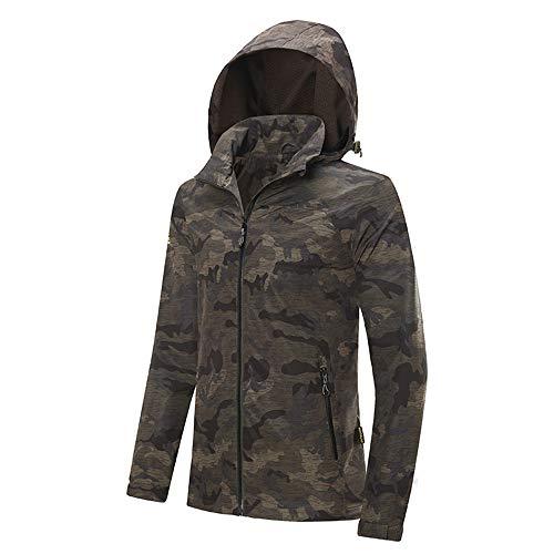 KD Homme Et Femme Couple Camouflage Extérieur Simple Couche Stretch Coupe-Vent Grand Format Sports Veste Imperméable,Gray,XXL