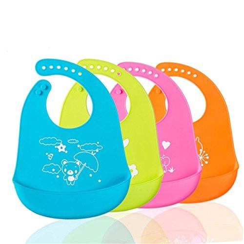 FCYOSO Baby - Jungen Babylätzchen Silikon-Lätzchen mit Tasche, wasserdichte Lätzchen für Baby, Füttern Lätzchen, Spülmaschinenfest Einheitsgröße 1