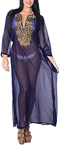 LA LEELA Suaves Kaftan Mujeres rayón Boho señoras Superiores túnica Poncho Cubre Kimono Ropa Playa Noche Vestido Tirantes Cuello Bordado Casual hasta la Longitud Completa la Manga baño Negro
