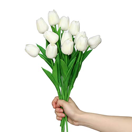 anaoo 12pcs Flores de Tulipanes Artificiales de Látex, Floras Falsas Pero de Tacto Real Decoración para Banquete de Boda, Hogar, Fiestas, Jardín, Partido del Hotel, Blanco