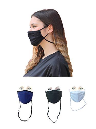 Body&Co Pack 6 Stück, Sommergesichtsschutzband mit verstellbarem Riemen und FALL ARRESTER, Farben BLACK WHITE BLUETTE, ideal für Sommer- und Outdoor-Sportarten