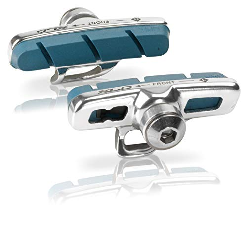 XLC Unisex– Erwachsene Bremsschuhe Cartridge Road Campa für Carbon 4er Set 50 mm, Silber, blau