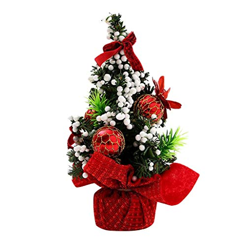 Fourd 3 Pcs 20cm Mini Christmas Decoration Tree Festival Desktop Decoration Small Tree Tree Festival Party Decoration for Home New Year(Red)