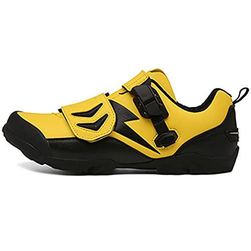 BSTL Zapatos de Ciclismo de Montaña de Carretera para Hombre y Mujer Zapatos de Bicicleta de Interior Sin Tacos Zapatos de Deporte Cómodos y Resistentes Al Desgaste,Yellow-39