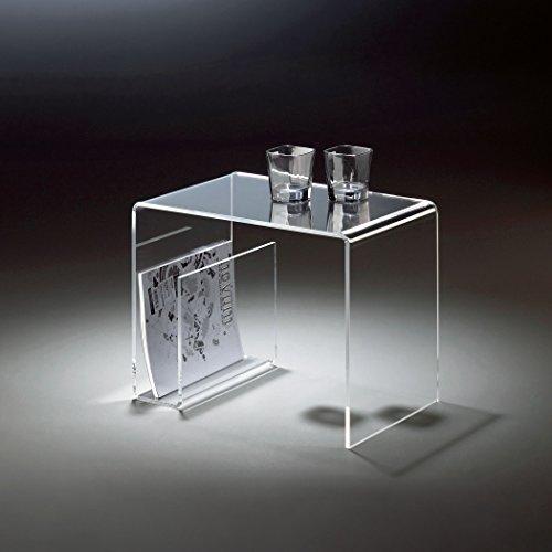HOWE-Deko Hochwertiger Acryl-Glas Beistelltisch mit Zeitungsfach, klar, 48 x 32 cm, H 38 cmAcryl-Glas-Stärke 8 mm