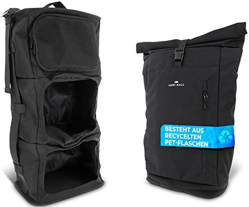 LB Lani Bags Reiserucksack Handgepäck Damen und Herren aus Recycelten Plastikflaschen | Rolltop Rucksack | Reisetasche | groß | Backpack für Uni, Schule, Arbeit & Sport