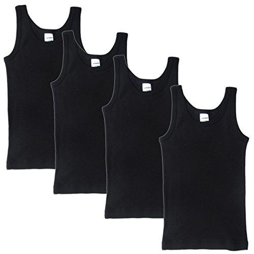 HERMKO 2800 4er Pack Jungen Unterhemd (Weitere Farben) Bio-Baumwolle, Farbe:schwarz, Größe:140