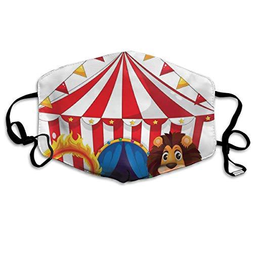 Leeuw en een brand ring in de voorkant van de Circus Tent gloeilampen Vlam AvontuurPrinting veiligheid Mond Cover voor volwassenen