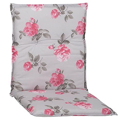 nxtbuy Gartenstuhl-Auflage Barcelona 100x50x6cm - Niedriglehnerauflage für Gartenstühle - Stuhlauflage mit Komfortschaumkern - Made in EU / ÖkoTex100, Dessin:Rosen Hellgrau, Anzahl:6er Set