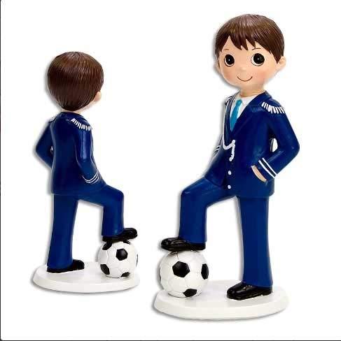 Figura de Tarta Comunión, niño Almirante con balón de fútbol. Muñeco para Pastel de Primera Comunión niño con balón de fútbol