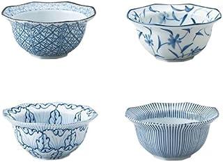 Japanese 4.72 Inches Diameter Beautiful Porcelain Small Bowls Set of 4 Blue and White Patterns, Sushi, Sashimi, Appetizer,...