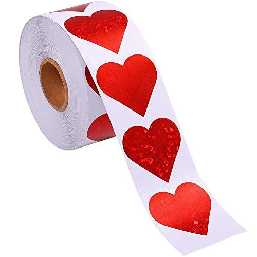 Yisily El Amor del corazón Pegatinas de San Valentín Día de San Valentín Decoración Adhesivos Auto Adhesivo Brillo Accesorios Decorativos de 1 Pulgada de Boda 500 Piezas