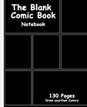 Blank Comic Book: Black Cover, 7.5 x 9.25, 130 Pages, comic panel,For drawing your own comics, idea and design sketchbook,for artists of all levels
