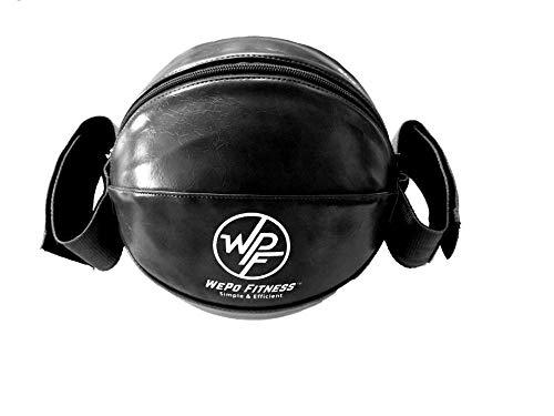 Wepo Medicine Ball for Exercises Portable Ball Core Exercises Ball Slam Ball Weight Loss Ball for Home Fitness Sand Ball Med Ball for Yoga Ball for Pilates Ball for Abs Workout Black 6 Pound