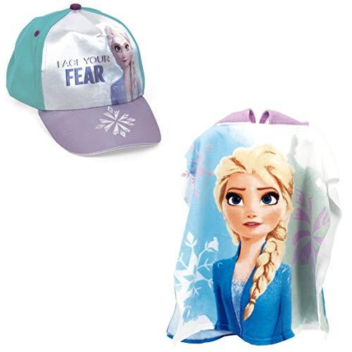 ARTESANIA Y DISEÑO TEXTIL, S.A. Poncho Frozen Toalla para Playa o Piscina + Gorra Frozen Elsa Disney para niñas (Modelo 2)