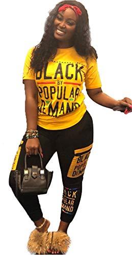 Womens Sexy 2 Piece Sports Outfit Set Shirt Bodycon Pants Joggers Clubwear Tracksuit Sportswear Set (XXL, Yellow)