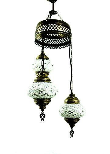 Handgemaakte Oosterse Turks mozaïek glas hanglamp binnenlamp hanglamp plafondlamp buitenlamp handgemaakt hanglamp 3 lichtjes glasmaat 2