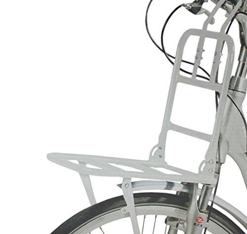 Voorkant fiets bagagedrager tot 15 kg fiets bagagedrager voor houten wiel in wit