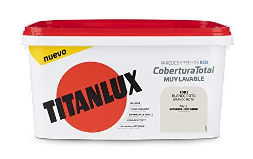 Titanlux - Pintura Plástica Cobertura Total Cubeta 4L (1001 Blanco Roto)