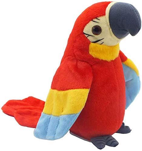 Lelesta Giocattolo di Peluche interattivo, Pappagallo parlante Pappagallo Elettrico Giocattolo di Peluche Uccello Peluche Giocattoli Ripete Quello Che dici Agitando Le Ali (Rosso)
