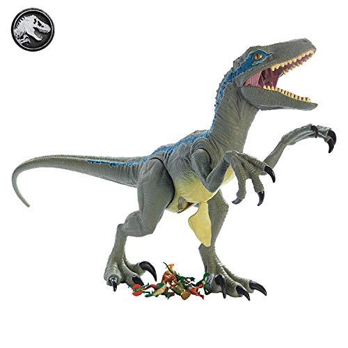 Mattel GCT93 - Jurassic World Riesendino Velociraptor Blue mit beweglichen Armen und Beinen