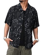 [ルーシャット] アロハシャツ メンズ レーヨン 総柄 プリント 夏 半袖 開襟シャツ オープンカラー シャツ
