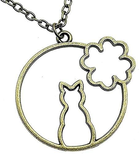 LBBYMX Co.,ltd Collar de Moda Flor Conejo Marco de aleación de epoxi Color de Bronce Antiguo 43X41Mm 45Cm Collar Colgante Collar de joyería Vintage Collar de Regalo