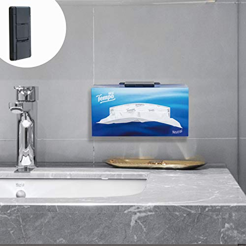 TFY Tissue Box Holder, Kitchen Wall Mount Compatible with Kleenex Facial Tissues and Other Napkin Paper Boxes, Also Compatible with Other Devices-Black