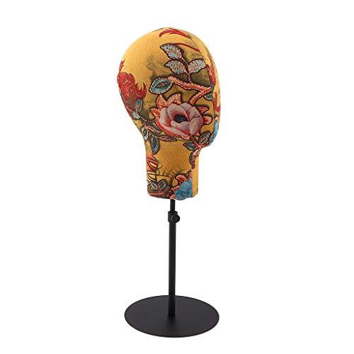 B Blesiya Présentoir Support à Perruque en Forme de Dôme en Métal Display Présentoir de Chapeau Perruque Casque avec Support Réglable de Magasin - Jaune