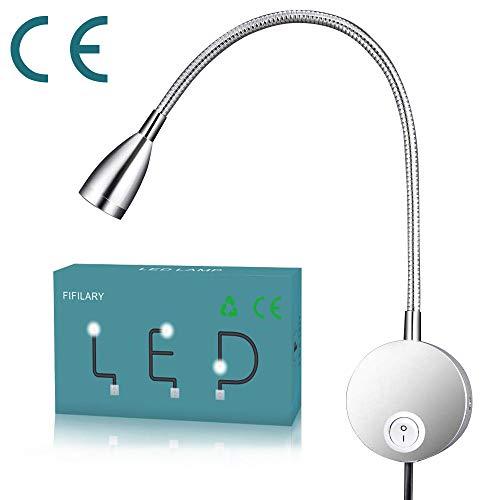 Schwanenhals Lampe,LED-Leuchte mit Aluminium-Schwanenhals Wandbefestigung Leselampe für Schlafzimmer Büro warm-weiß,100-200LM/3000K/3W/100-240V-LED,Lichtemissionswinkel:30 °, Länge:28cm (silver)